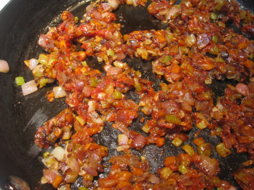 Caramelized vegetables and tomato paste