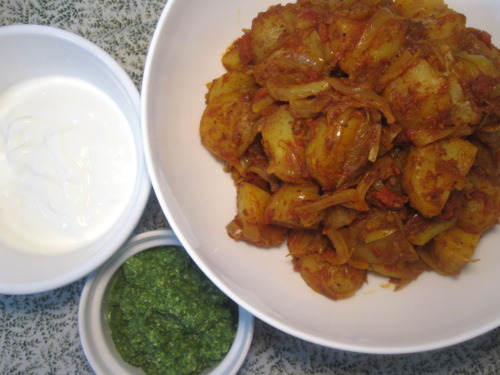Bombay Potatoes with Spicy Green Chutney