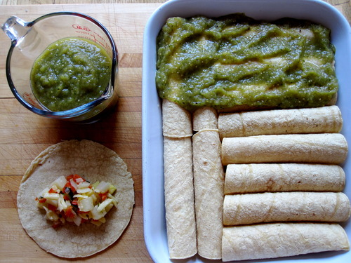In the Pan - Enchiladas Verdes with Tomatillo – Chile Sauce